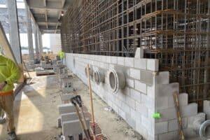 blocks being laid on exterior or rebar
