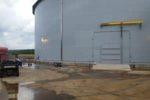 Industrial coating on tank exterior