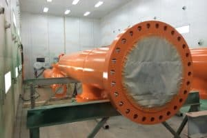 Orange pipe for gas plant painted