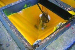 Yellow coating inside vat