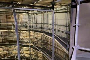 scaffolding inside tank