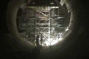 Circular scaffolding in large ductwork